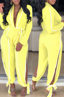 Yellow Fashion Patchwork Solid Bandage Hollowed Out With Belt V Neck Regular Jumpsuits