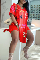 Red Casual Letter Print Split Joint Slit V Neck Short Sleeve Two Pieces