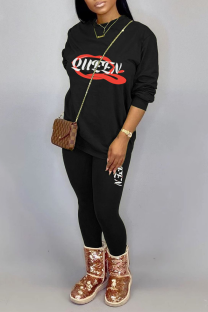 Black Casual Print Split Joint O Neck Long Sleeve Two Pieces