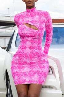 Pink Sexy Print Split Joint Half A Turtleneck Pencil Skirt Dresses