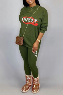 Green Casual Print Split Joint O Neck Long Sleeve Two Pieces