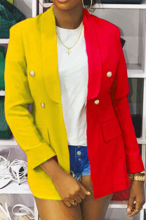 Yellow Casual Color Block Buckle Turn-back Collar Outerwear