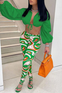 Green Sexy Casual Print Bandage Turndown Collar Long Sleeve Two Pieces