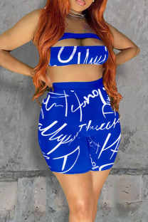 Blue Sexy Letter Print Hollowed Out Split Joint Strapless Sleeveless Two Pieces