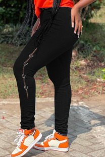 Black Fashion Casual Solid Ripped High Waist Skinny Jeans