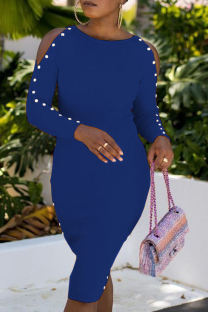 Blue Sexy Solid Buckle O Neck Pencil Skirt Dresses