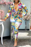 White Sexy Print Split Joint Turndown Collar Long Sleeve Two Pieces (Without Belt)