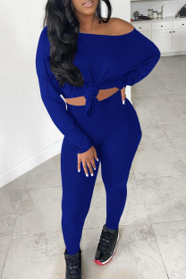 Blue Sexy Solid Split Joint One Shoulder Long Sleeve Two Pieces