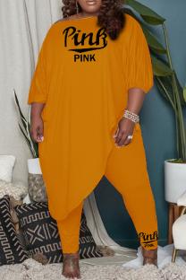Orange Fashion Casual Print Split Joint Asymmetrical O Neck Plus Size Two Pieces