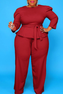 Burgundy Casual Solid Bandage Split Joint O Neck Plus Size Two Pieces
