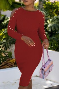 Burgundy Sexy Solid Buckle O Neck Pencil Skirt Dresses