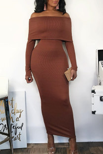 Brown Sexy Casual Solid Split Joint Backless Off the Shoulder Long Sleeve Dresses