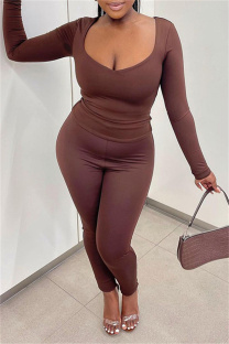 Coffee Casual Solid Basic V Neck Long Sleeve Two Pieces