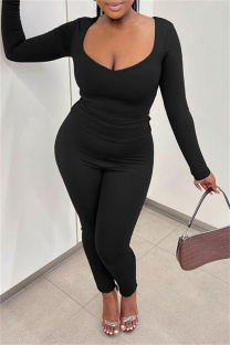 Black Casual Solid Basic V Neck Long Sleeve Two Pieces