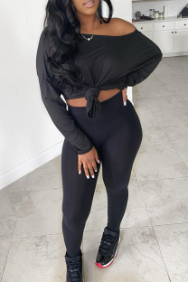 Black Sexy Solid Split Joint One Shoulder Long Sleeve Two Pieces