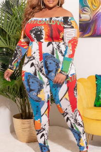 Red Sexy Print Split Joint Off the Shoulder Plus Size Jumpsuits