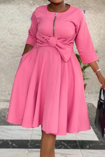Pink Casual Solid Split Joint O Neck Cake Skirt Dresses