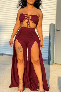 Burgundy Sexy Solid Hollowed Out Strapless Sleeveless Two Pieces