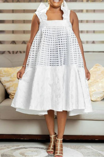 White Sweet Solid Hollowed Out Split Joint Flounce Square Collar A Line Dresses