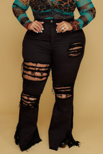 Black Sexy Solid Ripped Plus Size Jeans