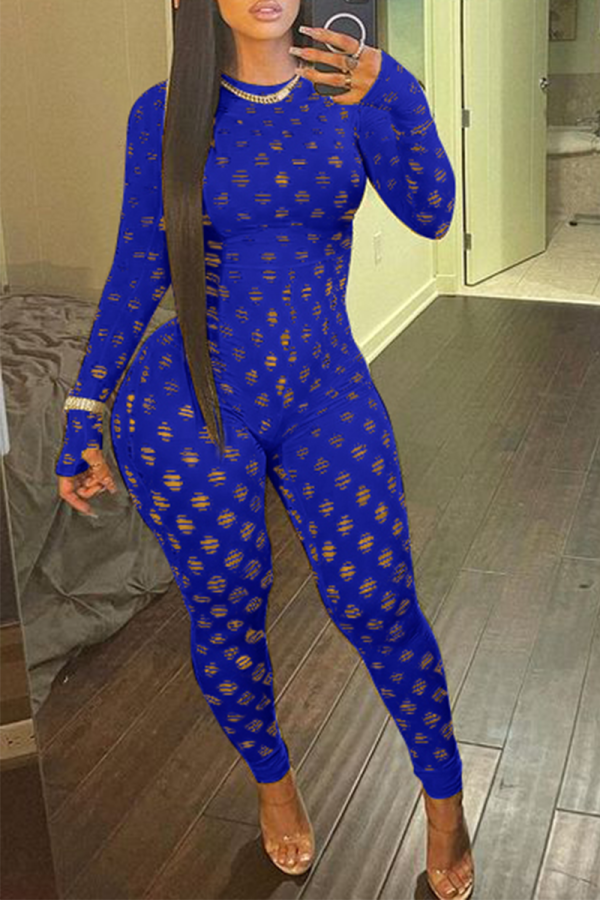 Blue Sexy Solid Split Joint Half A Turtleneck Skinny Jumpsuits