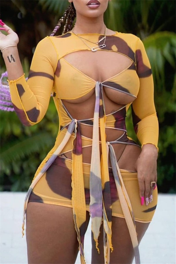Yellow Fashion Sexy Print Bandage Hollowed Out O Neck Long Sleeve Dresses