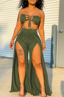 Army Green Sexy Solid Hollowed Out Strapless Sleeveless Two Pieces