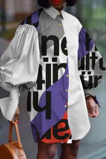 White Street Print Split Joint Buckle Turndown Collar Shirt Dress Dresses
