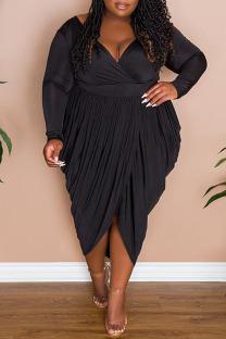 Black Casual Solid Split Joint Asymmetrical V Neck Long Sleeve Plus Size Dresses