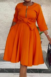 Tangerine Red Casual Solid Split Joint O Neck Cake Skirt Dresses