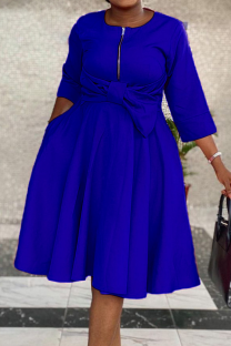 Blue Casual Solid Split Joint O Neck Cake Skirt Dresses