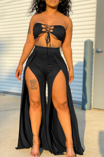 Black Sexy Solid Hollowed Out Strapless Sleeveless Two Pieces