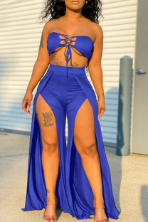 Blue Sexy Solid Hollowed Out Strapless Sleeveless Two Pieces