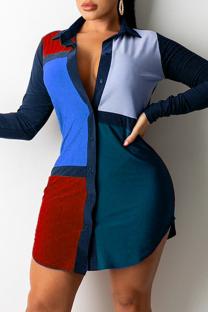 Blue Casual Color Block Split Joint Turndown Collar Shirt Dress Dresses