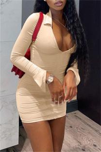 Apricot Fashion Sexy Solid Slit Turndown Collar Long Sleeve Dresses