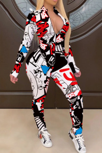 Black White Street Print Split Joint Zipper Zipper Collar Skinny Jumpsuits