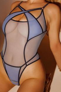 Blue Sexy Solid Mesh Halter Skinny Swimwears