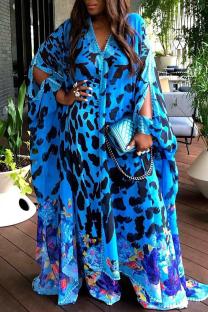Blue Casual Print Split Joint Straight Dresses