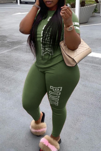 Green Fashion Casual Letter Print Basic O Neck Plus Size Two Pieces