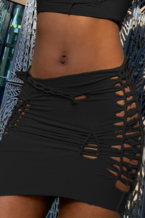 Black Sexy Solid Hollowed Out Skinny Mid Waist Pencil Solid Color Bottoms
