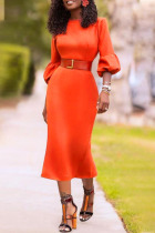 Red Casual lantern sleeve Long Sleeves O neck Slim Dress Knee-Length Others Dresses (Without Belt)