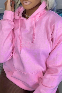 Pink Casual Solid Split Joint Hooded Collar Tops