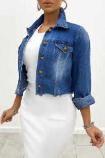 Deep Blue Casual Solid Draw String Turndown Collar Long Sleeve Regular Denim Jacket