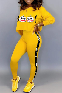Yellow Casual Print Split Joint One Shoulder Long Sleeve Two Pieces