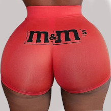 Red Elastic Fly Low Print Straight shorts Bottoms