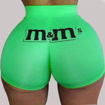 Green Elastic Fly Low Print Straight shorts Bottoms