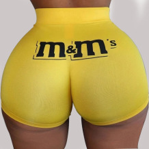 Yellow Elastic Fly Low Print Straight shorts Bottoms