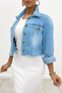 Light Blue Casual Solid Draw String Turndown Collar Long Sleeve Regular Denim Jacket
