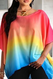 Rainbow Color Casual Gradual Change Split Joint O Neck T-Shirts