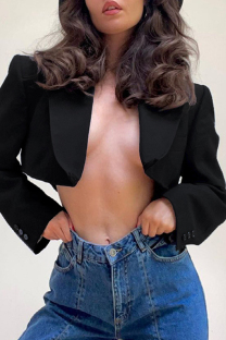 Black Fashion Casual Solid Cardigan Turndown Collar Outerwear